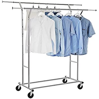 double rail garment clothing rack chrome. Black Bedroom Furniture Sets. Home Design Ideas