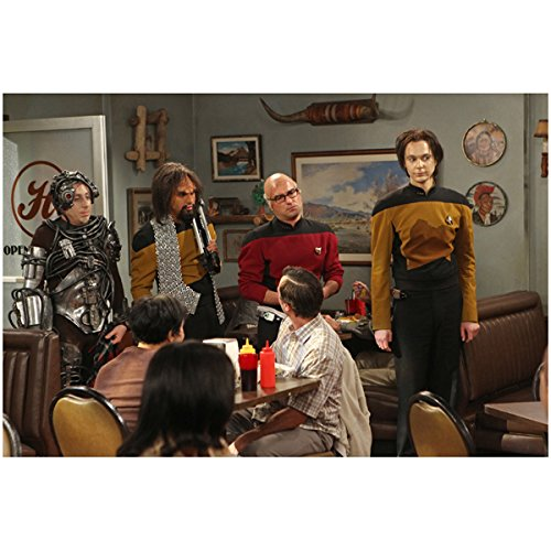 Koothrappali Costume (Cast of The Big Bang Theory 8 x 10 Photo Kunal Nayar/Raj Koothrappali, Johnny Galecki/Leonard Hofstadter, Simon Helberg/Howard Wolowitz, Jim Parsons/Sheldon Cooper in Star Trek Costumes in Diner kn)