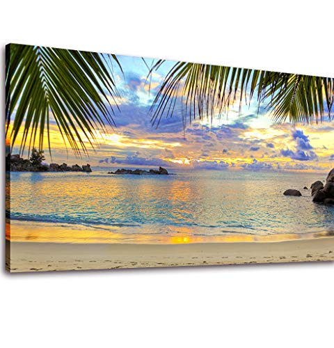 Canvas Wall Art Sea Sunset Beach Palm Tree Painting Prints - Long Canvas Artwork Seascape Ocean Contemporary Nature Picture Framed for Home Office Wall Decor 20