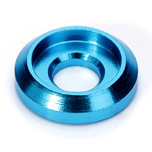20 PCS M3 Head Washers Gaskets Aluminum Alloy Countersunk Cup Shim for Screw Multicolor Drone (Blue)
