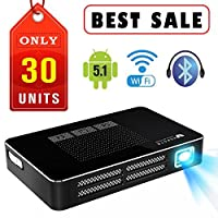 WOWOTO A5 Multimedia Home Theater Video Projector with Android System support 1080P HDMI USB SD Card VGA AV for Home Cinema TV Laptop Game iPhone Andriod Smartphone with Free HDMI Cable