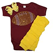 Baby girl's Maroon & Yellow School Team Color Rhinestone Yellow Football, Maroon Outfit 3-6mo