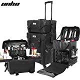UNHO Professional Artist Rolling Wheeled Makeup Train Case with Storage Drawers & Upgraded Buckles