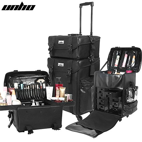 UNHO Professional Artist Rolling Wheeled Makeup Train Case with Storage Drawers & Upgraded Buckles by UNHO