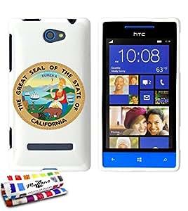 Carcasa Flexible Ultra-Slim HTC 8S de exclusivo motivo [Escudo California] [Blanca] de MUZZANO  + ESTILETE y PAÑO MUZZANO REGALADOS - La Protección Antigolpes ULTIMA, ELEGANTE Y DURADERA para su HTC 8S