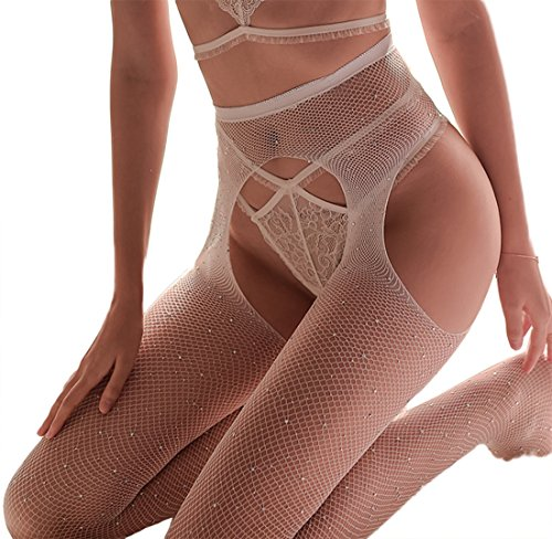 3a3f5032189 MISSGGBOND Women s Sexy Crotchless Fishnet Stockings Mesh Hollow Out  Pantyhose Tights With Sparkle Rhinestone