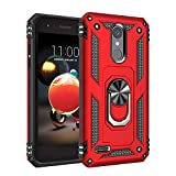 Phone Case for [LG Rebel 4 (L212VL, L211BL)], [Ring Series][Red] Shockproof [Rotating Metal Ring] Cover with [Kickstand] for LG Rebel 4 (Tracfone, Simple Mobile, Straight Talk, Total Wireless)