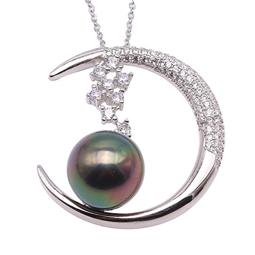 Sterling Silver 11.5mm Tahitian Cultured Pearl Pendant Necklace Silver Tahitian Cultured Pearl