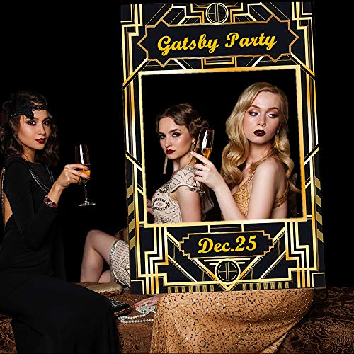 JeVenis Luxury Art Deco Party Photo Booth Prop Frame 1920s Great Gatsby Photo Frame Roaring 20's Photo Selfie Frame for Great Gatsby Wedding Vintage Birthday Party Supplies]()
