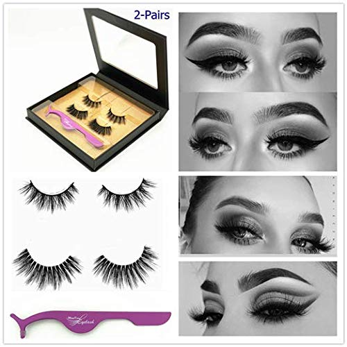 2 Pairs Collection of Faux Mink False Eyelash with Luxury Case Fake Lashes 100% Brand New Fashion Stylish Manmade 3D Style Full and Natural Eye Lash 1 Package Box Reusable Cruelty Free - Full Faux Eyelashes