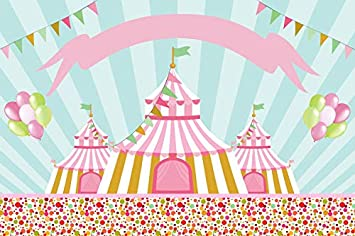 OERJU 12x10ft Cartoon Circus Backdrop Red Tents Background for Photography Baby Shower Banner Birthday Party Decor Children Kids Photo Wallpaper