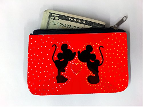 Cute Two Mice Silhouettes Heart Red Design Print Image Coin Purse Change Holder by Trendy Accessories