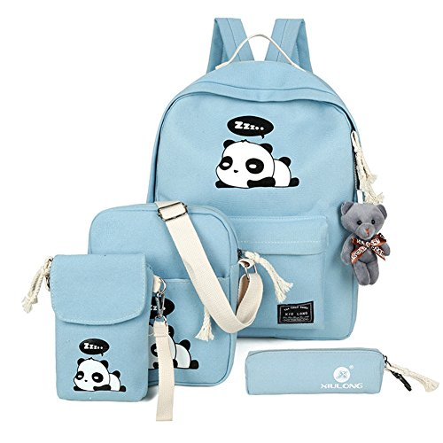 5PCS Lightweight Canvas Backpack Panda Casual Daypack School Bag for Women Girls Blue by MaxxCloud