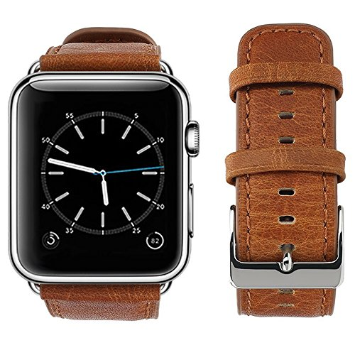 Apple Watch Band, top4cus Genuine Leather iwatch Strap Replacement Band with Stainless Metal Clasp for Apple Watch Series 3 Series 2 Series 1 Sport and Edition (42mm, Retro style - Old Brown)