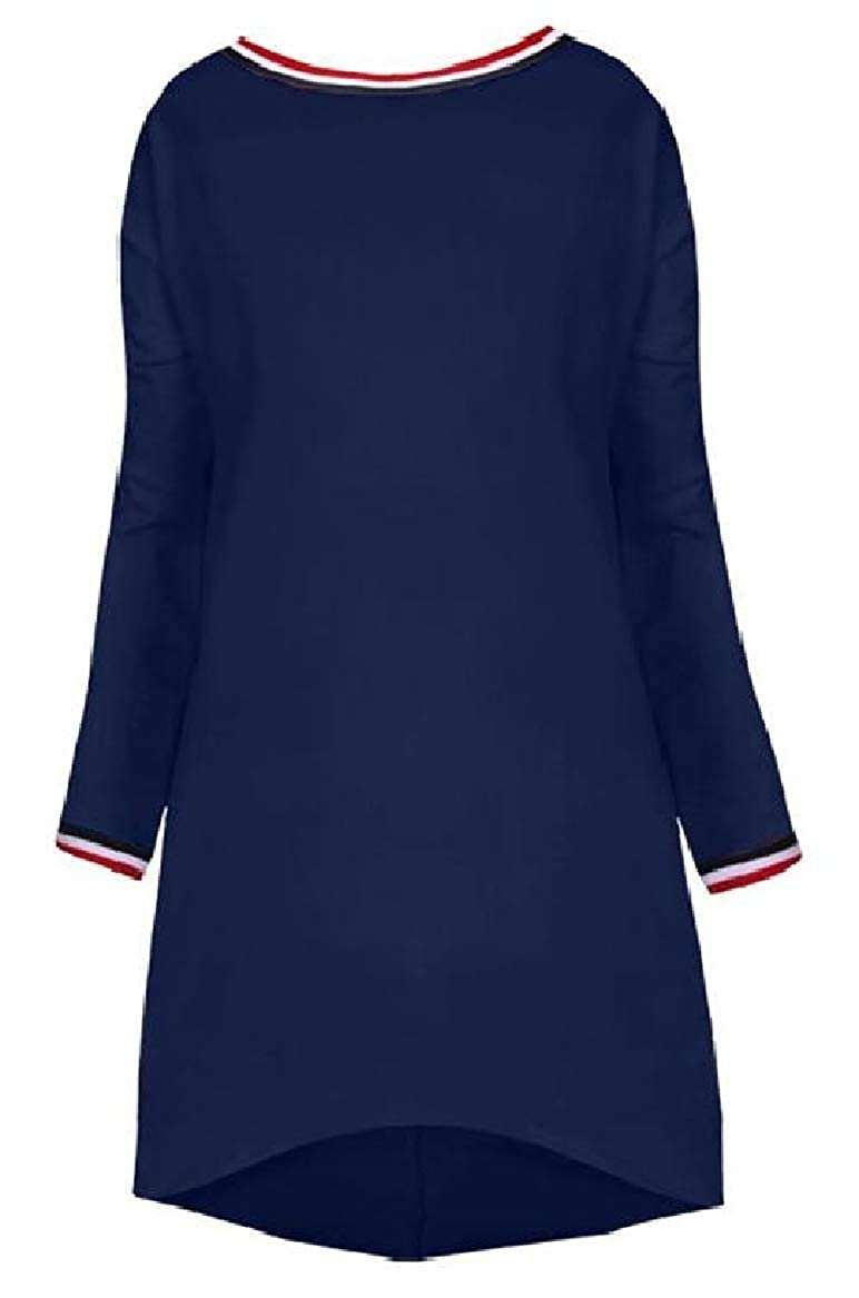 YUNY Womens Dress Solid Color Mid Long Slim Fit Pullover Outwear Navy Blue XS