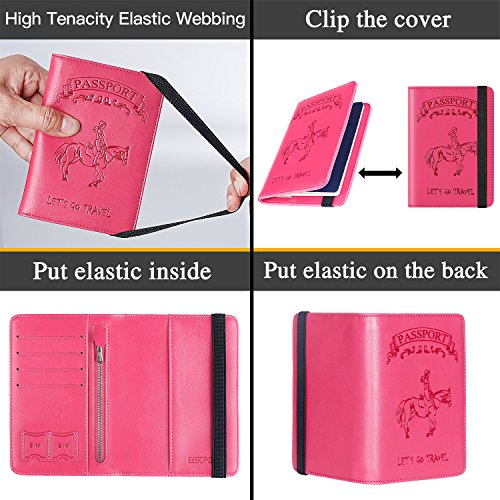 Passport Holder Cover Wallet RFID Blocking Leather Card Case Travel Document Organizer (Ride Horseback-Pink) by PASCACOO (Image #4)