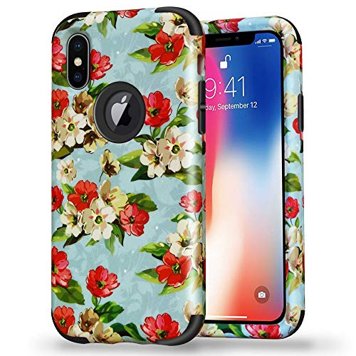 iPhone X Flower Design Case, SUMOON Hard PC Back Cover Anti-Scratch Anti-Fingerprint & Soft Silicone Frame Bumper Durable 3 in 1 Pretty Fashion Design Girls Case for Apple iPhone X (Jasmine Black) (Print Cart Battery)
