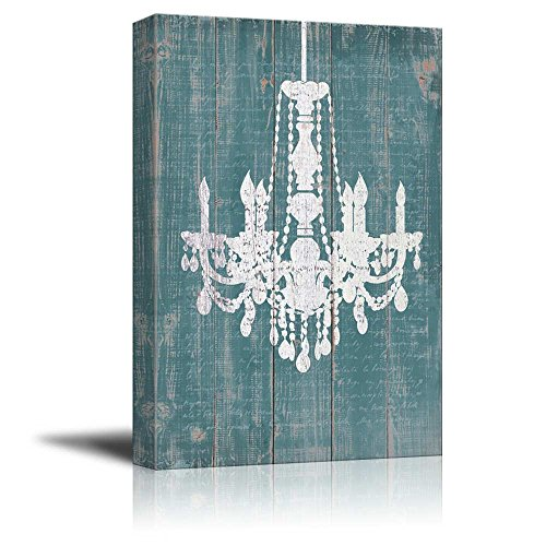wall26 Canvas Wll Art - Whte Chandelier Painted on Rustic Wood Texture Background - Giclee Print and Stretched Ready to Hang - 12