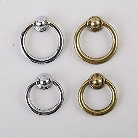 IdealDecor 10pcs Antique Brass Ring Pull Handle for Kitchen Cabinets,Cupboards,Wardrobe,Drawer Furniture Hardware