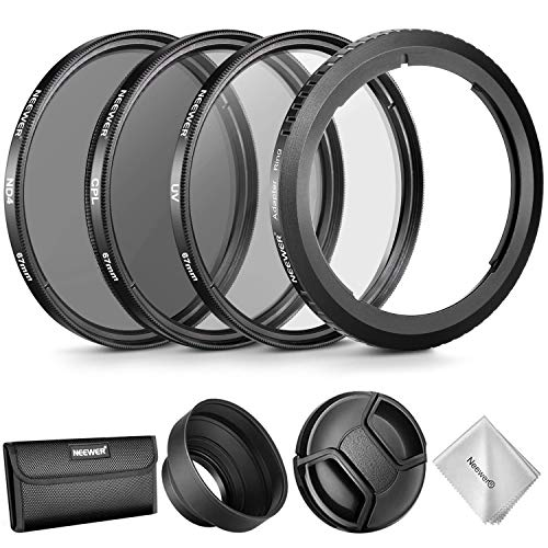 Neewer Lens Accessory Kit for Canon PowerShot SX530 HS, SX520 HS, SX60 HS, SX50 HS, SX40, Includes: Filter Adapter Ring + 67mm Filter Set(UV/CPL/ND4) + Rubber Lens Hood + Lens -