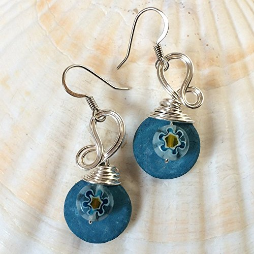 Millefiori Flower - Blue Millefiori Glass Flower Bead Earrings - Bohemian Jewelry