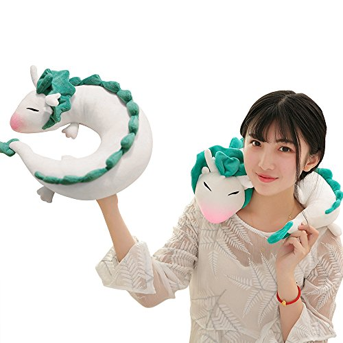 LUCKSTAR U-shaped Pillow - Soft & Small White Dragon Cartoon Anime Neck Pillow Plush Toy (White)