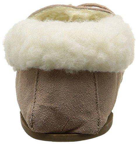 SNUGRUGS - Mocassini slipper in camoscio da donna, con suola rigida e rivestimento in lana, colore: Marrone chiaro Misura: 35,5 a 43,5