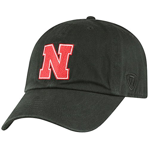 NCAA Nebraska Cornhuskers Men's Adjustable Relaxed Fit Black Icon Hat, Black