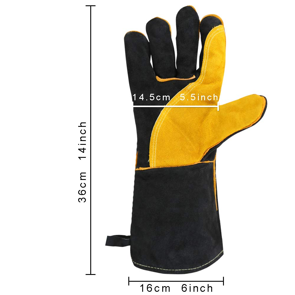 OLSONDEEPAK Welding Gloves with Kevlar Stitching, Genuine Leather Extreme Heat Resistant Glove for Fireplace, Stove,Oven,Grill, BBQ, Mig, Pot Holder, Animal Handling (Large Black(For men)) by OLSON DEEPAK (Image #7)