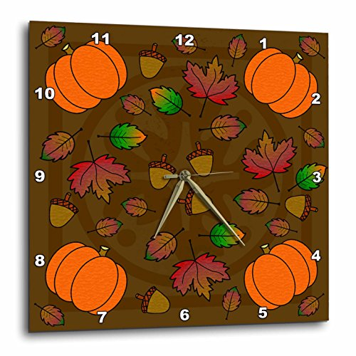 Wall Clock, Thanksgiving Print Fall Leaves Acorns