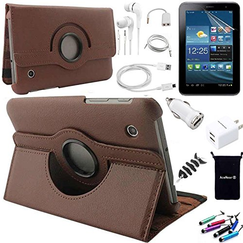 AceNear Accessory Bundle For ASUS MeMO Pad 7 (ME176CX, ME176C) Tablet - New 360 Degress Rotating Stand Leather Folio Case Cover , Headset Dust Plug Capacitive Stylus, Screen Protector, USB Cable, Charger, Earphone, bag, Car Charger Adapter - black
