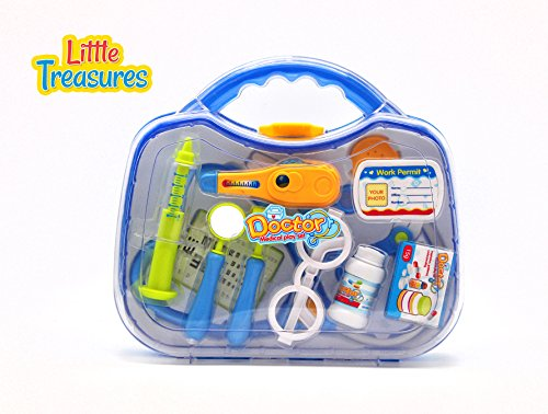 Little Treasures Surgical Doctor Medical Playset with 12 Pieces and a Carrying Case for Ages 3 and Up