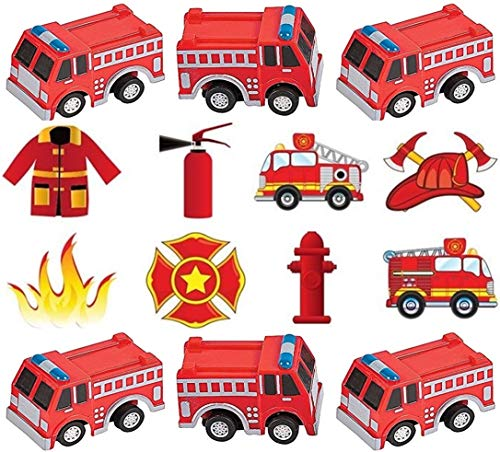 HAPPY DEALS ~ Fireman Party Favors Lot -Includes (12) Pull Back Friction Fire Trucks + Tattoos and Stickers ()