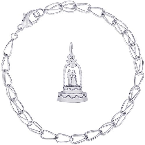 Rembrandt Charms Sterling Silver Wedding Cake Charm on a Double Twist Bracelet, 8