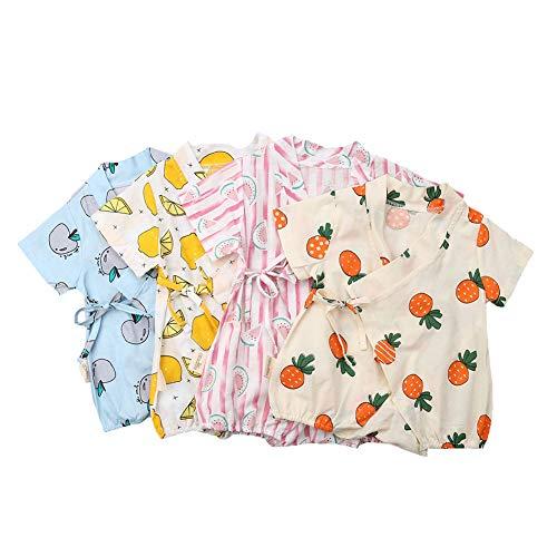 Douhoow Newborn Unisex Baby Kimono Short Sleeve Yarn Robe Romper Bodysuit Japanese Pajamas (0-6 Months, Pink) ()