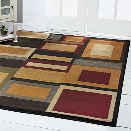 Home Dynamix Royalty Cassi Area Rug | Modern Family Room Rug | All-Over Geometric Pattern | Mid-Century Modern Design | Multicolored, Red, Beige 5'2″ x 7'2″ For Sale