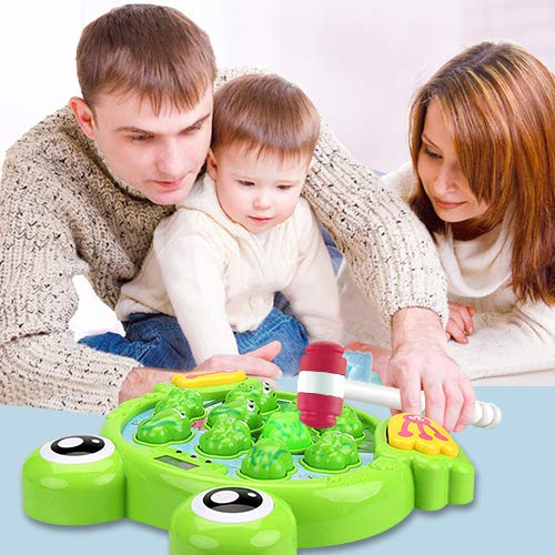 SKYFIELD Interactive Whack A Frog Game for Boys and Girls 2 3 4 5 6 Years Old, Toddlers Early Developmental Toys, Fun and Learning Gift for Kids, 2 Hammers Included (Frog)