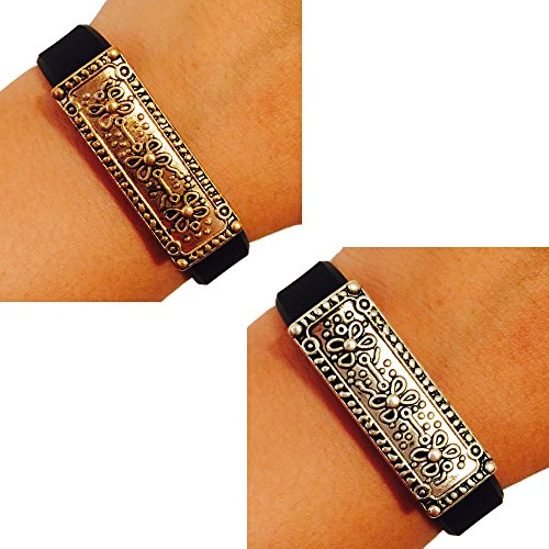 Fitbit Alta, Fitbit Flex, Jawbone Up Jewelry to Accessorize Your Fitness Tracker -Classic Polished Antique Gold or Silver Etched Ornate MILAN Charm Bracelet Accessory (Aged Gold) (Ornate Charm)