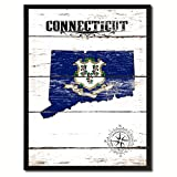 Connecticut State Flag Canvas Print, Black Picture Frame Gifts Home Decor Wall Art Decoration