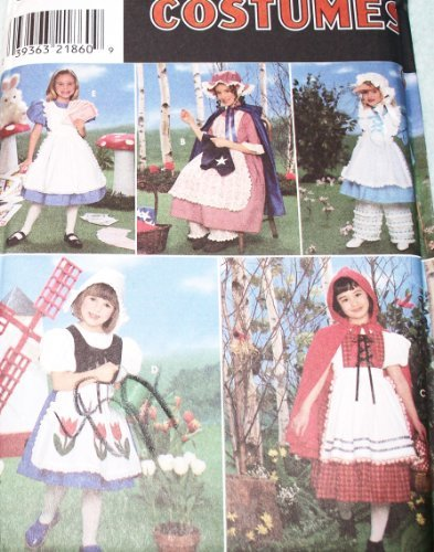 Simplicity 8234 Sewing Pattern Girls Red Riding Hood Bo Peep Dutch Girl Alice in Wonderland Halloween Costume Size 5 - 6 - 7 - 8