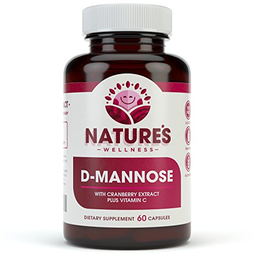 D-MANNOSE with Cranberry Extract Plus Vitamin C | Urinary Tract Health - UTI Protection - Flush Impurities - Immune System | Non GMO | 60 Veg Capsules | 600mg D-Mannose + 200mg Cranberry Extract