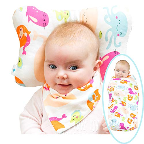 WhaleCare Baby Flat Head Pillow, Blanket, and Bib Set - Breathable Organic  Cotton Head Pillow for Flat Head Syndrome Protection - Plus Cute Cotton