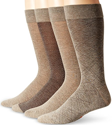 Dockers Men's 4 Pack Herringbone Dress, Light Brown Heather Assorted, Shoe Size: 6-12 (Sock Size: 10-13)