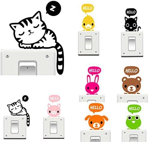 Interruptor de Gato Pegatina de vinilo en las pegatinas de dibujos animados divertido accesorio de decoración del hogar