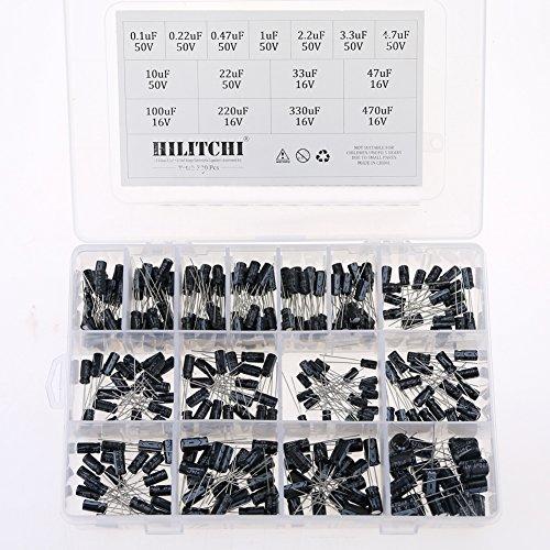 Hilitchi 15 Kinds Values 300pcs 0.1uF470uF Range Electrolytic Capacitors Assortment Kit (50V and 16V)