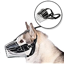 DogBite Muzzle | Large Adjustable Prime Leather and Iron Cage Dog Muzzle Mask, Provide All-Around Protection, Brilliant Basket Design for Large Breed Dog Allows Panting Drinking,Black Chrome,Size XL