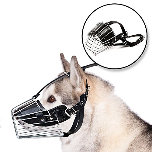 No Bark Muzzle | Large Adjustable Prime Leather and Iron Cage Dog Muzzle Mask, Provide All-Around Protection, Brilliant Basket Design for Large Breed Dog Allows Panting Drinking, Black Chrome, Size XL