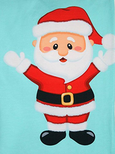 Santa on Aqua Blue Design, Fabric Panel Printed on Organic Knit, 11.50 Inches Tall (3 Panels) by Fabric Fairytales