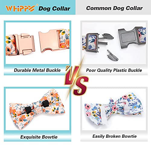 WHIPPY Soft Bow Tie Dog Collar Adjustable Cute Bowtie Dog Collars with Metal Buckle for Small Medium Large Dog Girls Boys, Orange, S