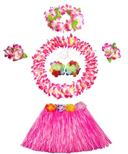 30cm Hawaiian pink grass skirt performance costume set for girls